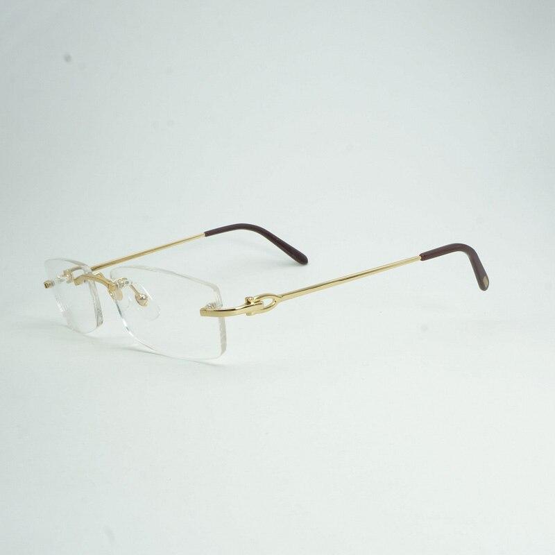 Luxury Rimless Carter Clear Glasses Frame Men Brand Designer Square Eyeglasses Mens Oval Reading Glasses Oculos Gafas 011