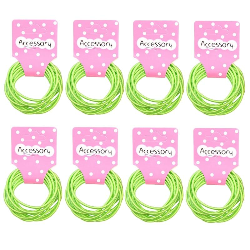JEYL New 100pcs Baby Girl Kids Tiny Hair Accessary Hair Bands Elastic Ties Green