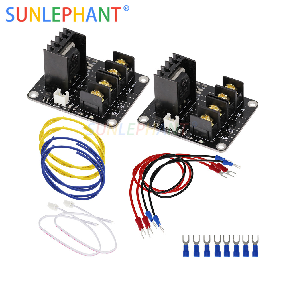 2Pcs 3D Printer Heated Bed Power Module High Current 210A MOSFET Upgrade RAMPS 1.4 With Cable2Pcs 3D Printer Heated Bed Power Module High Current 210A MOSFET Upgrade RAMPS 1.4 With Cable