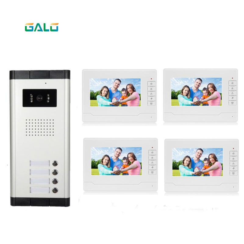 Multi Apartment Video Intercom System 7 Inch Memory Video Doorphone For 4 Family