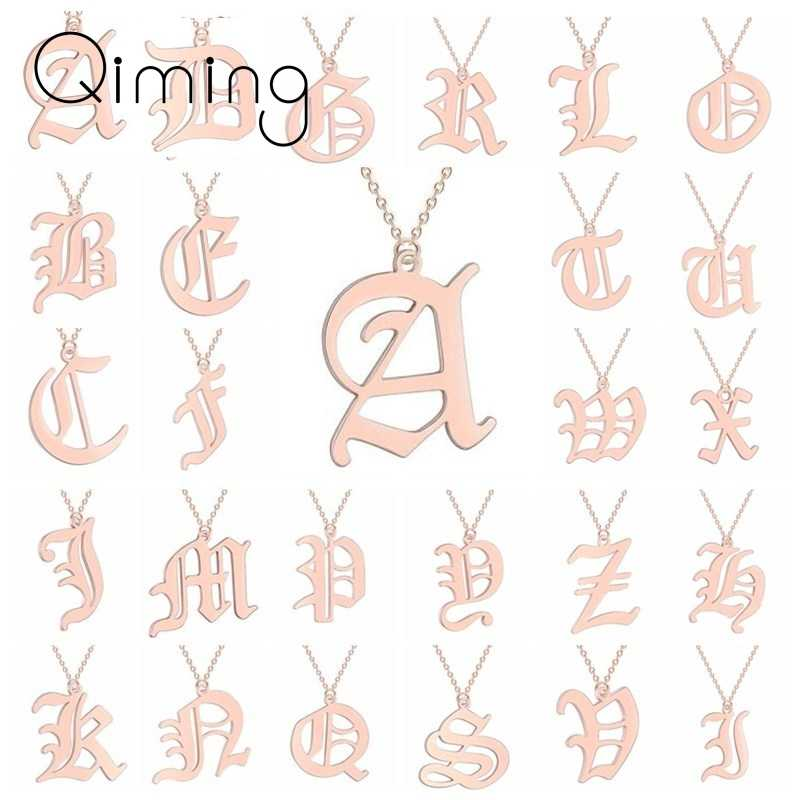 Custom Letter Necklace Men Women Initial Name Stainless Steel Couple Jewelry Ethnic Gold Friendship Necklaces Gift Baby