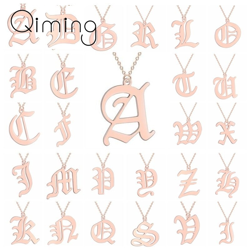 Fashion Letter Necklace Men Women Initial Name Stainless Steel Couple Jewelry Ethnic Gold Friendship Necklaces Gift Baby