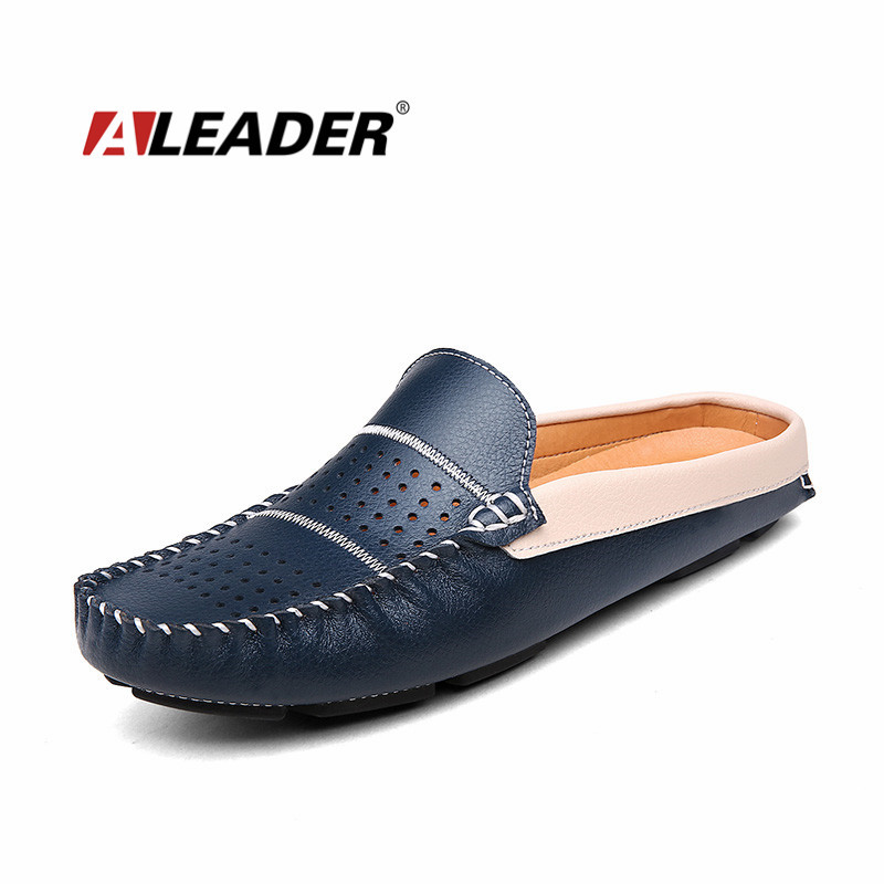Breathable Mens Leather Shoes Loafers 2017 Summer Genuine Leather Slip on Slippers Shoes Casual Loafers for Men Mocassins Flats top brand high quality genuine leather casual men shoes cow suede comfortable loafers soft breathable shoes men flats warm