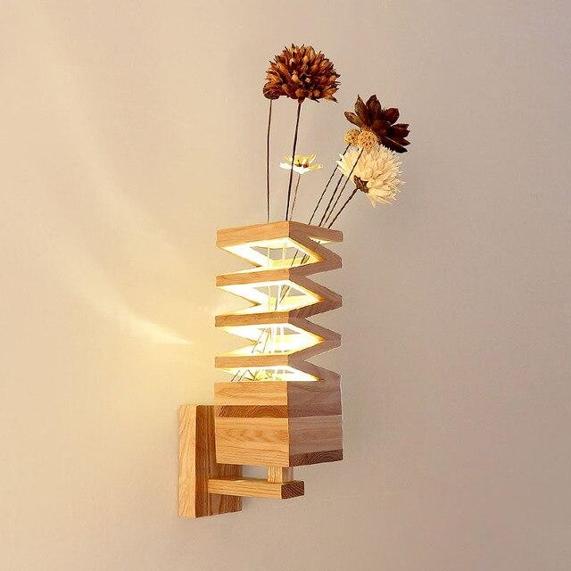 Modern minimalist Wood Wall lamp LED wood color. Creative living ...