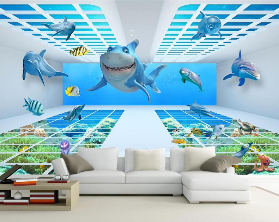 Custom 3D underwater world cartoon shark Dolphin wallpaper papel de parede,living room sofa TV wall children bedroom 3d murals, custom 3d murals cartoon wolf papel de parede hotel restaurant coffee shop living room sofa tv wall children bedroom wallpaper