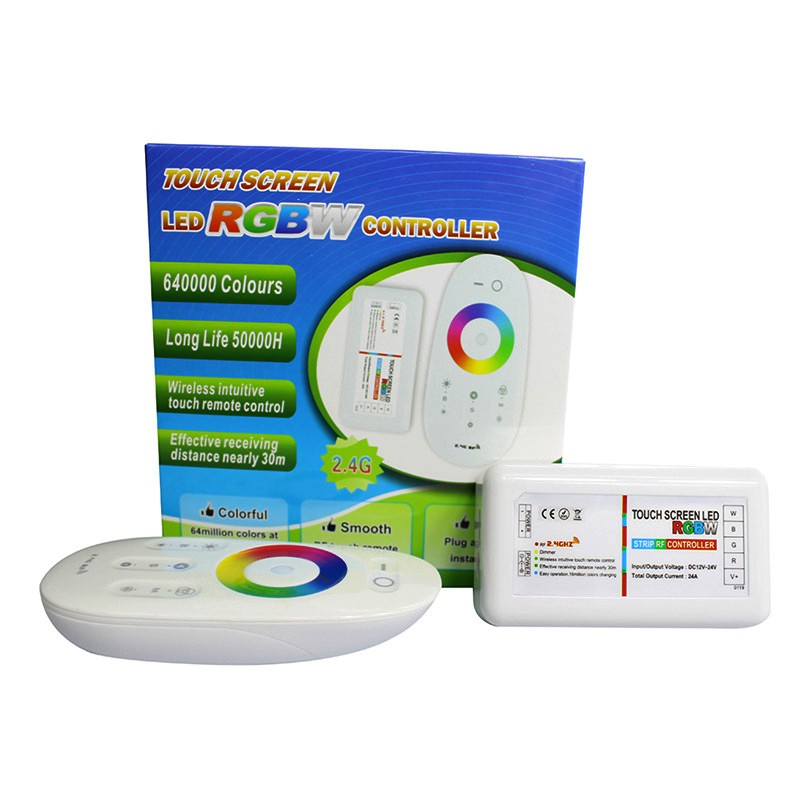 1Set-RGBW-Controller-DC12V-2-4G-Touch-Screen-LED-RGBW-Controller-Receiver-DC12-24V-24A-RF