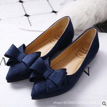 The new spring 2016 pointed flat shoes documentary shallow mouth Bow Shoes flat shoes black shoes scoop big size 33–44