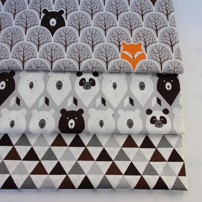 100% tissus de coton gris de bande dessinée arbres renard ours panda noir brun tri angle pour BRICOLAGE enfants tente literie vêtements décoration artisanat