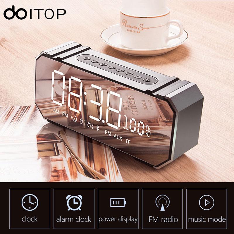DOITOP Wireless Bluetooth Speaker LED Display Screen Alarm Clock Stereo Hifi Music Subwoofer Mirror Speaker Support FM TF Card