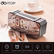 DOITOP Wireless Bluetooth Speaker LED Display Screen Alarm Clock Stereo Hifi Music Subwoofer Mirror Speaker Support FM TF Card