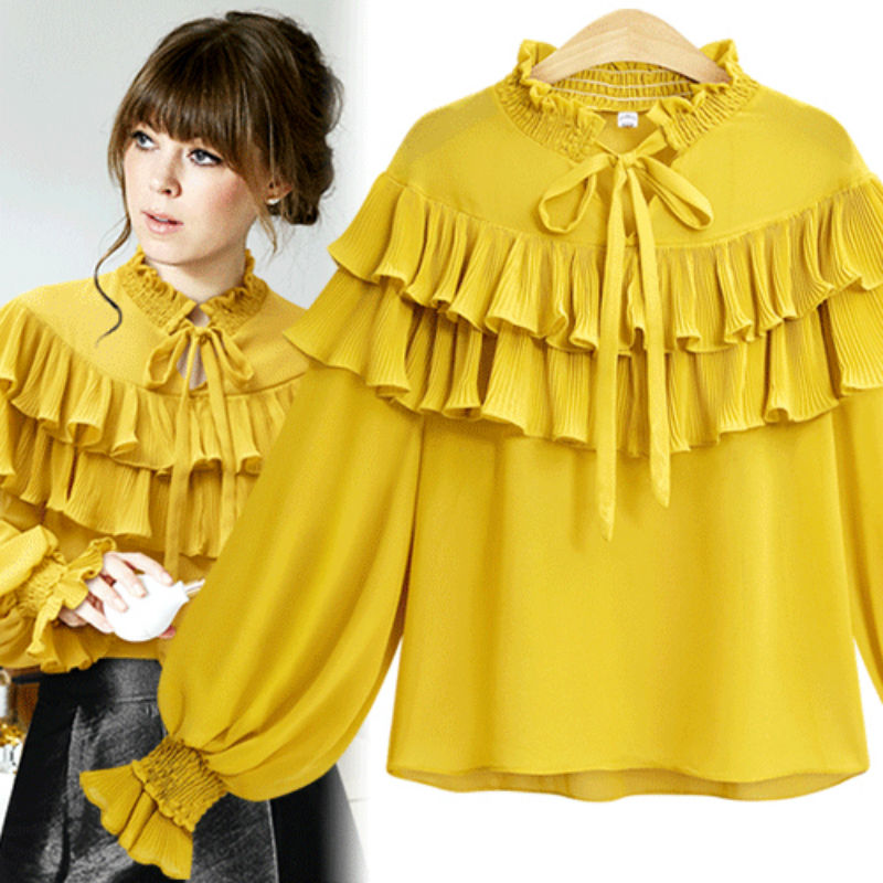 f2429055171d8d Vintage Lace Up tiered Ruffle Yellow Blouse Women 2018 Spring Long Lantern Sleeve  White Chiffon Shirt Plus Size 5XL Ladies Tops-in Blouses   Shirts from ...