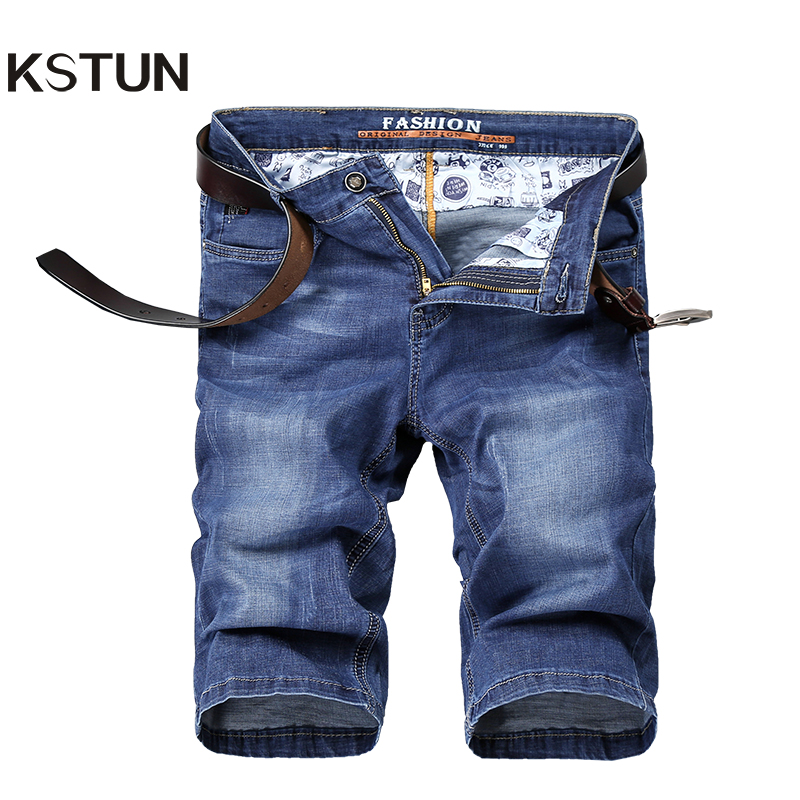 KSTUN Mens Jeans Brand Shorts Jeans Men Denim Pants Sky Blue Elastic Slim Straight Casual Knee Length Shorts Jeans Lightweight
