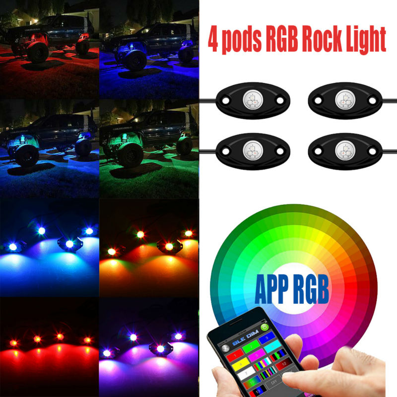 Bluetooth 4 8 Pods LED RGB Rock Lights froad Mini Rock Under