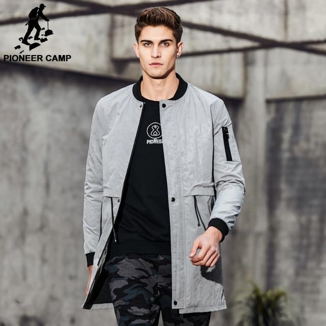 Pioneer camp 2017 chegada nova primavera homens do revestimento de trincheira roupas de marca moda mens longo casaco de qualidade superior masculino sobretudo ajk707010