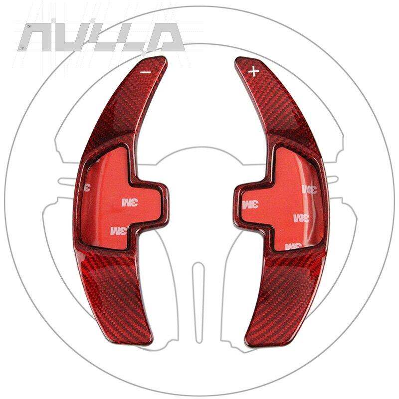 Type-C Rouge Look Carbone Changement de vitesse au Volant Paddle Shifter Extension Autocollant Pour Mercedes Benz 2015 2016 E C S W205 GLC Classe
