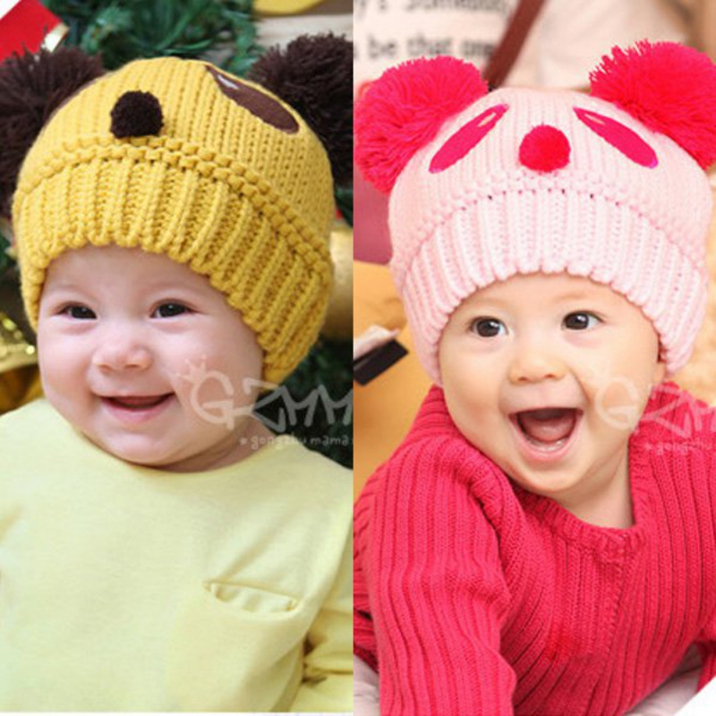Toddlers Hat For Boy Baby Girls Cap Cartoon Panda Ball Knited Crochet Beanie Cap Baby Hat