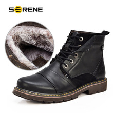 Фотография Serene Winter Plush Motorcycle Boots Men Keep Warm Genuine Leather Ankle Boots With Fur Plus Size