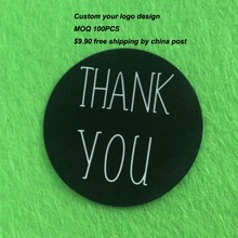Wholesale 100pcs= 1Lot Size 30mm Black White Thank You Sticker Label Hand Made Sticker CUstom Logo Cost Extra