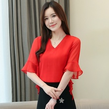 Blouse Women 2019 Summer Casual Shirt Chiffon Fashion V-neck Trumpet Sleeve Tops Blusas Ladies Solid Color Shirts