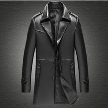 Spring and Autumn Mens Leather Long Jacket Lapel Suit Casual Plus Size S-4XL