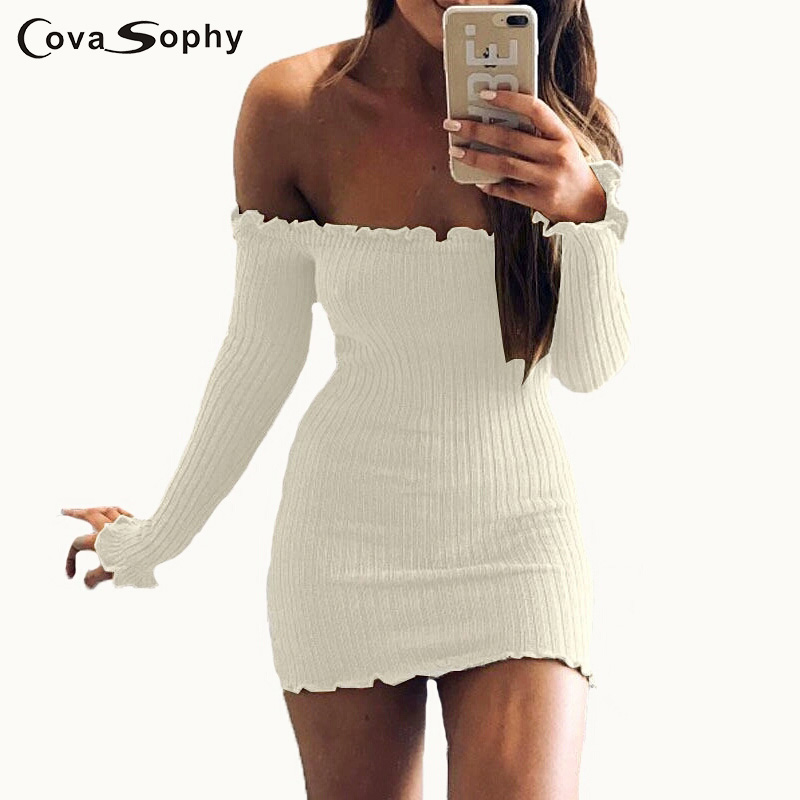 Cova Sophy Off The Shoulder Knitted Dress Sexy Elegant Long Sleeve 2017 Autumn Women 6 Colors Dress cute off the shoulder lemon dress for women
