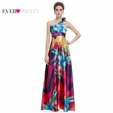 [Clearance Sale] Evening Gown Dresses Ever Pretty HE09623 Hot Sale One Shoulder Purple Floral Printed Flower Satin