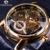 2016 Forsining Gravura Oco Esqueleto Casual Designer Preto Caso Engrenagem Moldura de Ouro Relógios Homens Marca De Luxo Relógios Automáticos