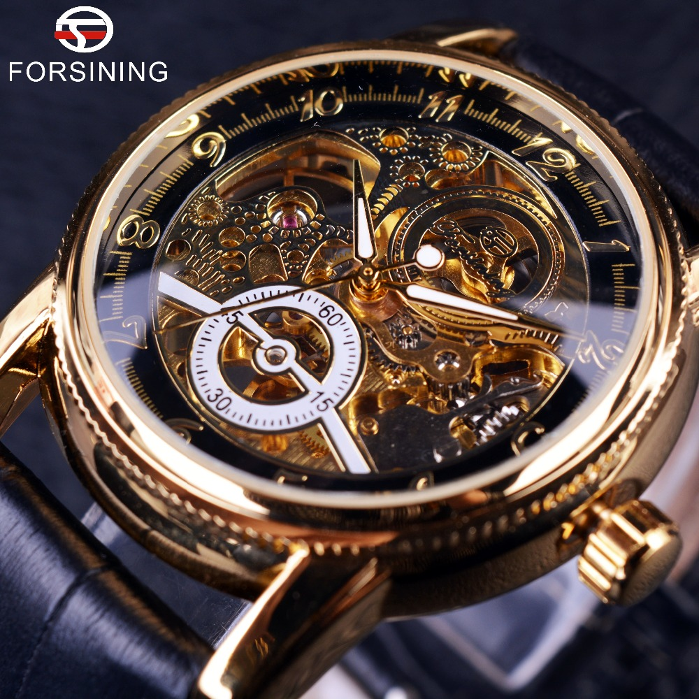 2016 Forsining Hollow Gravering Skeleton Casual Designer Black Golden Case Gear Bezel Klokker Menn Luxury Brand Automatic Watches