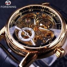 2016 Forsining полые гравировка Скелет Повседневная дизайнерская черный золотой передач случае ободок часы Мужчины Элитный бренд автоматические часы