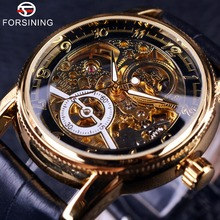 2016 Forsining Hollow Engraving Skeleton Casual Designer Black Golden Case Gear Bezel Watch