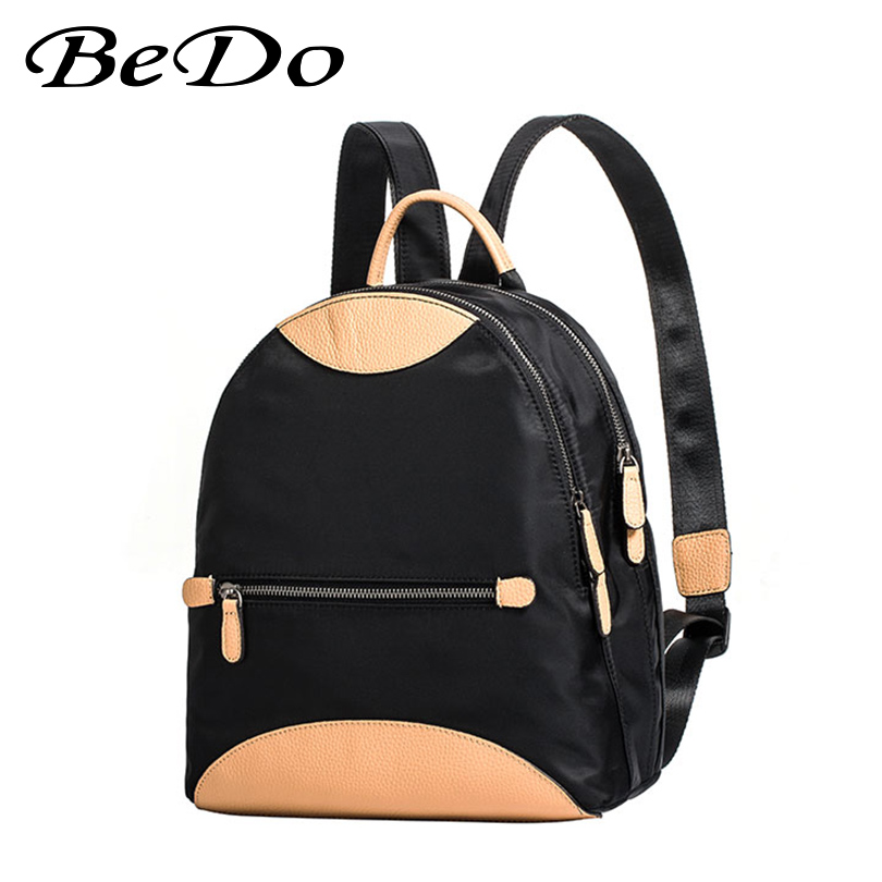 Модные брендовые рюкзаки для девочек, нейлон + натуральная кожа, повседневные сумки, школьный рюкзак для девочек подростков, прочный женский рюкзак