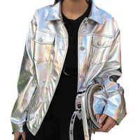 Pu レザージャケット女性緩め原宿シルバー革ジャケットユニセックスオートバイコート女性レザーバイカージャケットソフト Jackeet 106