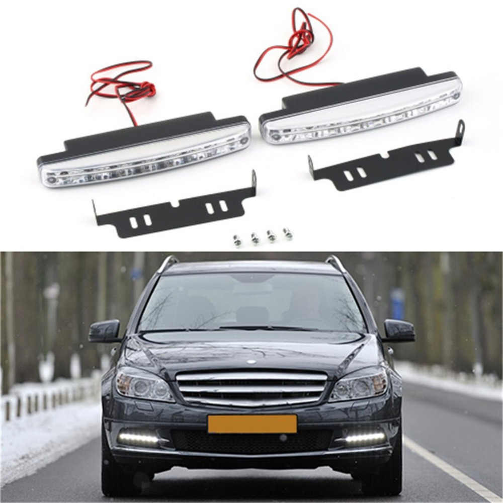 2 Pieces Super White 12V 8 LEDs Auto Car Daytime Running Lights 6000K Fog Lamps Car Driving Light Lamp High Quality Hot New