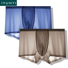 IYUNYI 2pcs/lot Seamless Underwear Men Soft Sexy Super Thin Boxer Shorts Ice Silk Transparent Breathable Cueca Male Panties
