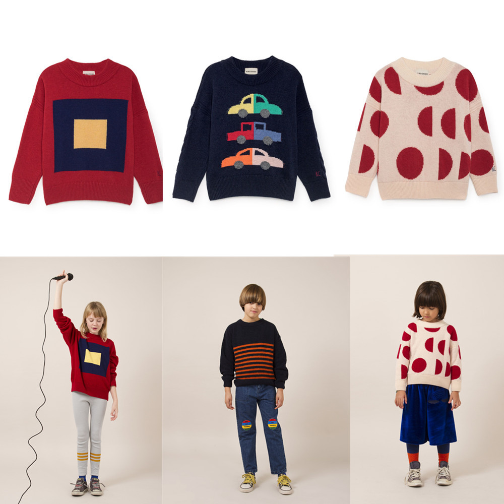 2018 New Autumn Kids Sweater Bobo Choses Boys Girls Knitwear Merino Squares Cars Moons Jumper Tops