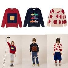 2018 г. новый осенний Детский свитер для мальчиков Bobo Choses для девочек трикотаж мериносовой квадраты автомобили Лун Детский комбинезон футболки хлопковая детская одежда
