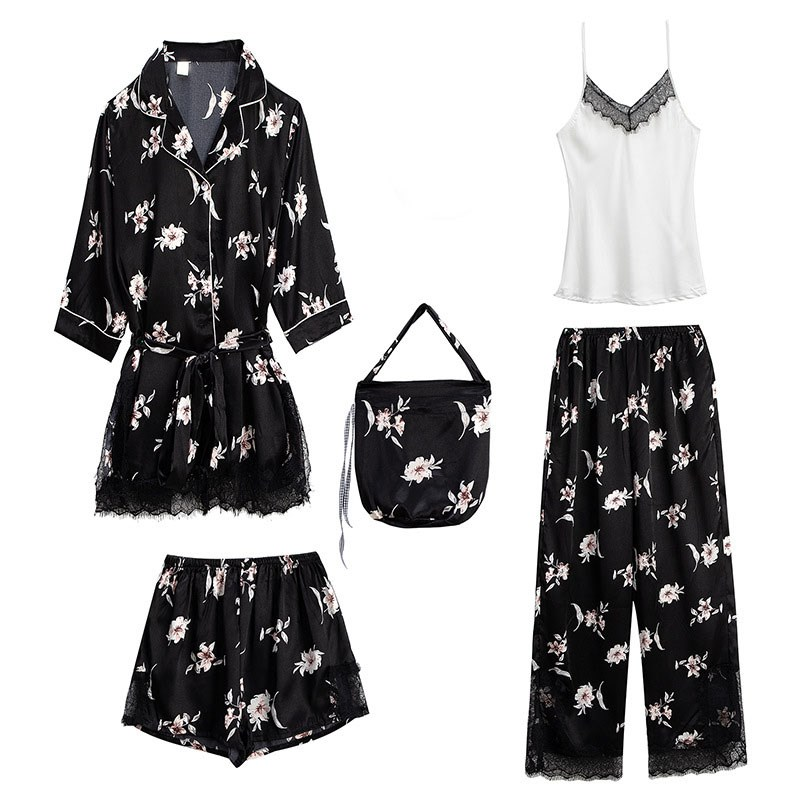 2019 5 Pieces Set Women Sleep Lounge Printed Satin Pajamas Sets Lace Patchwork Sleepwear Set