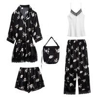 2019 5 Pieces Set Women Sleep Lounge Printed Satin Pajamas Sets Lace Patchwork Sleepwear Set