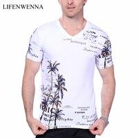 2017 Letnie męskie T-shirt Nowe Mody Kokos Wyspa Drukowanie T Shirt mężczyźni V Neck Krótki Rękaw Slim Fit Casual Shirt Mens Tee 5XL
