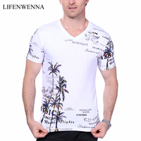 2016 Summer Men S T Shirt New Fashion Coconut Island Printing T Shirt Men V Neck