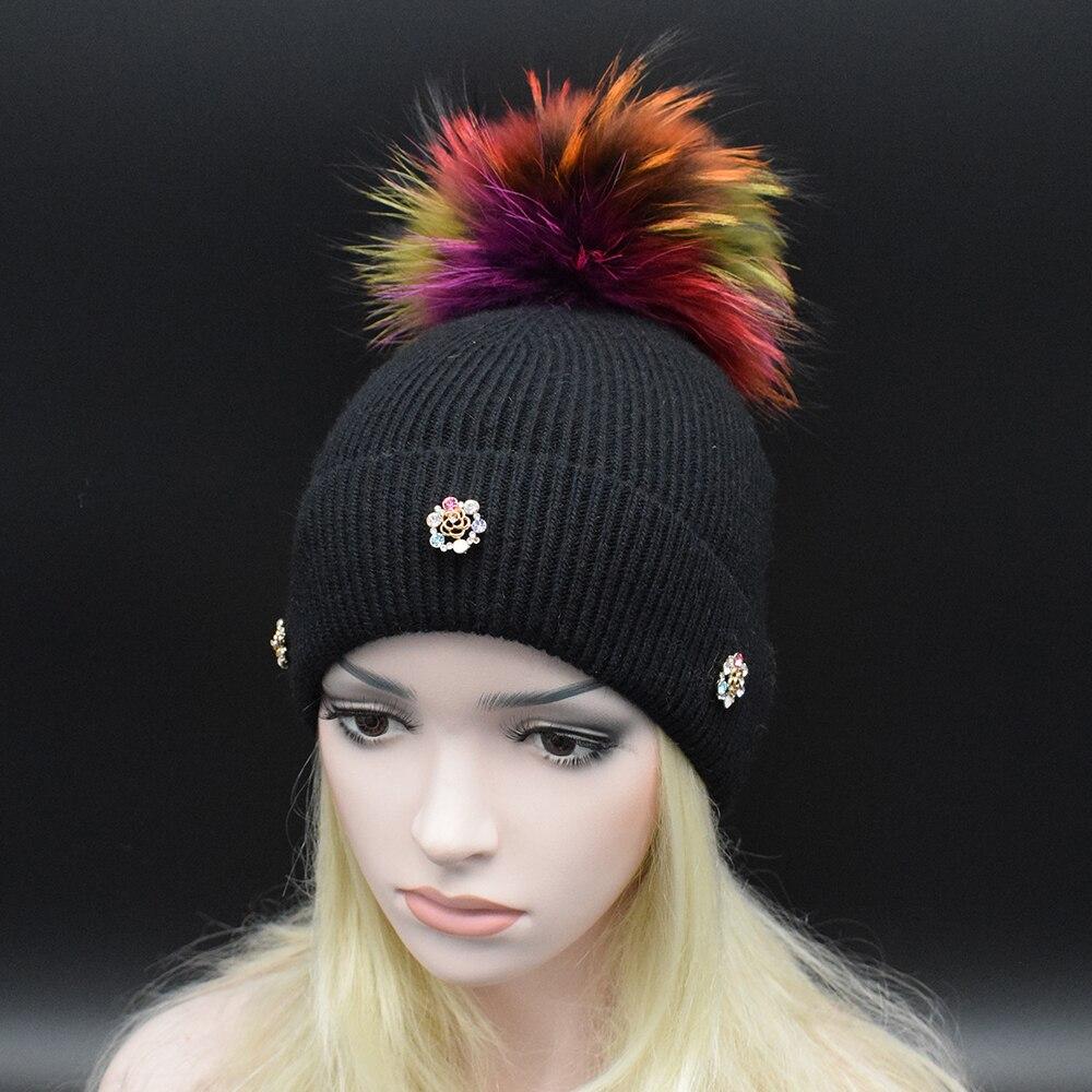 2017 Winter best gift Luxury colorful Raccoon fur pompoms women hat Fashion female wool Beanie caps