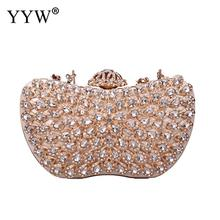 Gold Evening Bags Chain Shoulder Messenger Purse Party Clutches Wedding Pouch Rhinestones Carbon Fiber Clutch Diamonds Beaded day clutches elegant lady messenger bags for women clutch evening bag casual party purse beaded wedding handbag zh b0321