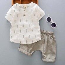 Casual Toddler Outfits Baby Boy Summer Clothes Newborn Boy Clothing Set Sports T-shirt+ Shorts Suits Leaves Print Clothes цена в Москве и Питере