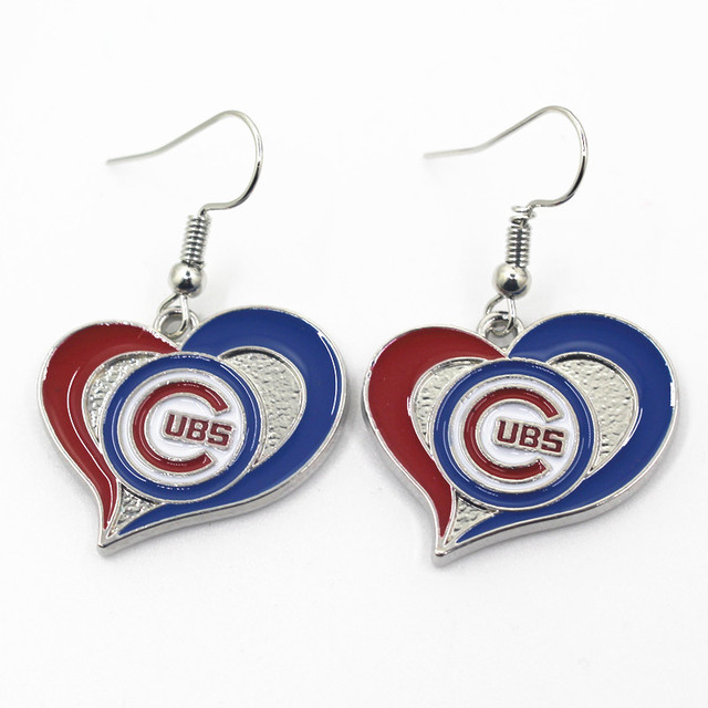 New Design Mlb Team Sports Heart Earring Chicago Cubs Earrings Charms Jewelry Women 6pair