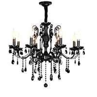 Nowoczesny czarny żyrandol sypialnia klasyczne żyrandole kryształowe vintage chiny oświetlenie żyrandol z kutego żelaza lampy do salonu
