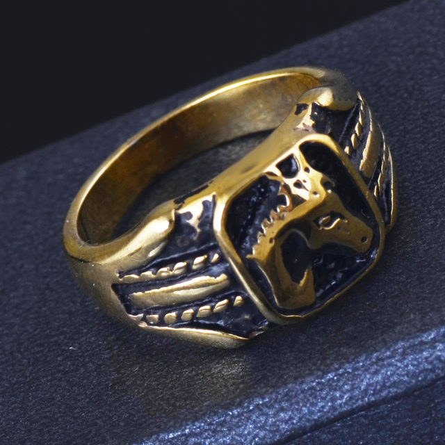 line Shop Free shipping Uni Horse Head Gold Ring for Crazy