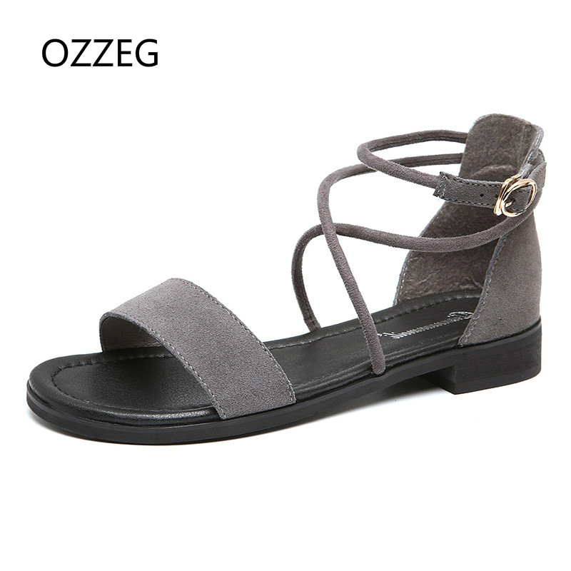 2018 Women Shoes Sandals Comfort Genuine Leather Summer Shoes Flat Women Sandals Fashion Woman Shoes Beach Sandalias Mujer Shoes instantarts women flats emoji face smile pattern summer air mesh beach flat shoes for youth girls mujer casual light sneakers