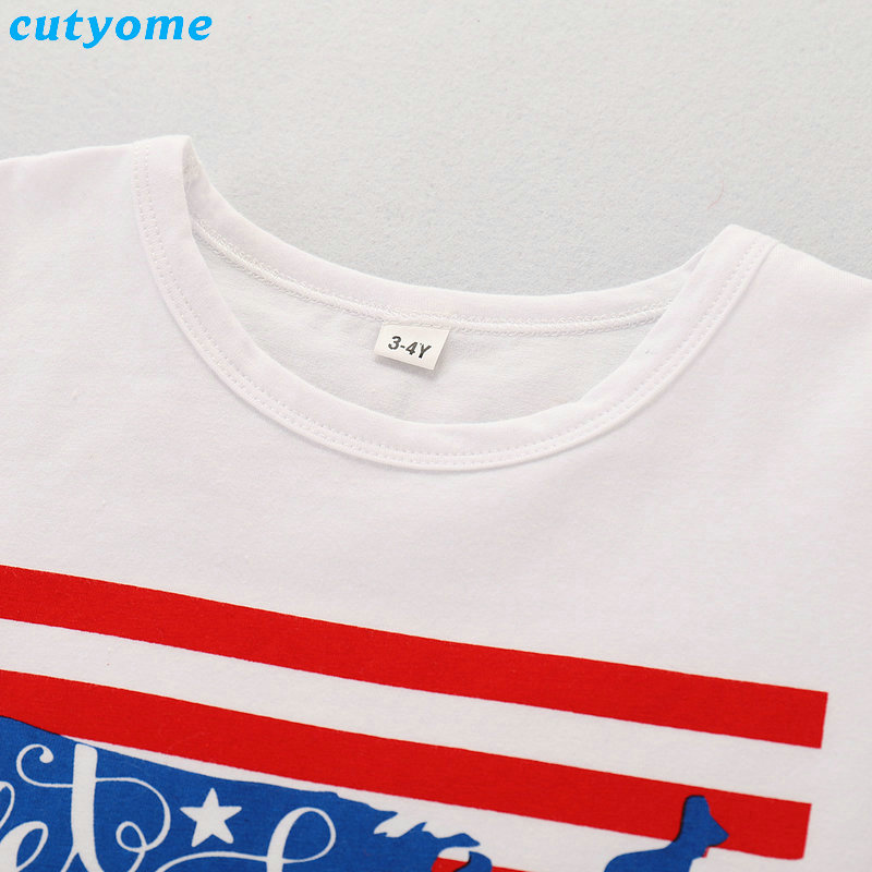2019 Family Matching Outfits July 4th T-shirt Mother Daughter Father Son Independence Day Tee Tops Blouse Summer Cotton Summer (15)