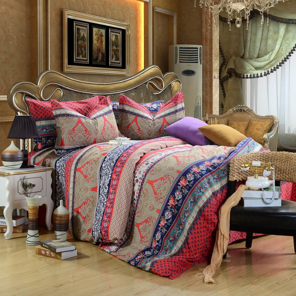 new arrival luxury fleece fabric 4pcs 100 cotton boho bedding set with red print bed cover. Black Bedroom Furniture Sets. Home Design Ideas