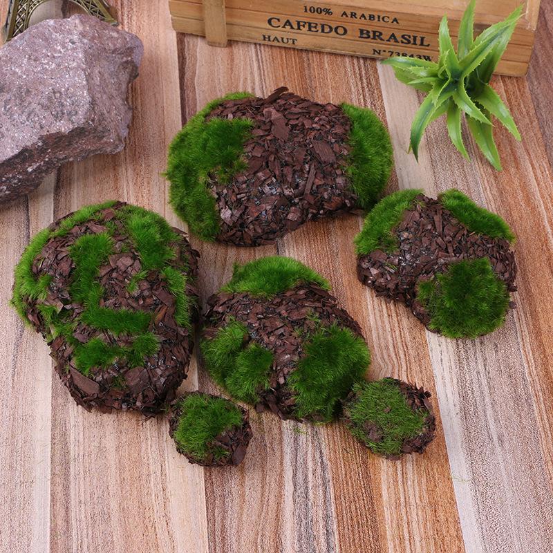 6pc/1pack Wood Chip Green Foam Fake Rock DIY Artificial Moss Stones Grass Plant Home Garden Decor Landscape